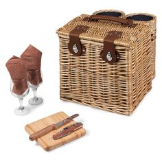 Picnic Time Adeline Vino Wine and Cheese Basket - 122-15-320-000-0, Durable