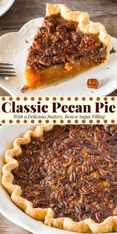 Classic Pecan Pie is delicious all year round but definitely a favorite at Thanksgiving. With flaky pastry, a delicious brown sugar filling, and crunchy pecans on top - it's easier than you think to make perfect pecan pie. desserts for 2 Pecan Pie Köstliche Desserts, Holiday Desserts, Holiday Baking, Holiday Recipes, Delicious Desserts, Dessert Recipes, Yummy Food, Southern Christmas Recipes, Holiday Pies