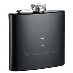 Visol Raven Personalized Matte 6 ounce Flask with Initial Engraved - Letter I