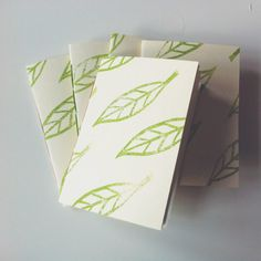 Unique handmade stationery: these notebooks are new to my shop and they are truly special. Featuring my leaf pattern block-printed in a fresh spring