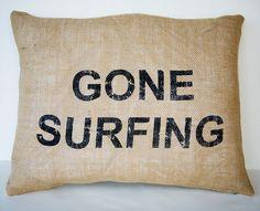 Beach Cottage Burlap Pillow - Gone Surfing