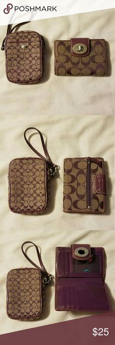 Coach Wallet and Camera Case set Purple and Tan Wallet and Camera Case, can be used as a wristlet. Good condition, slight wear nothing too noticeable. Coach Bags Wallets