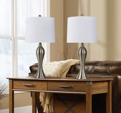 Winston Porter Tosha 29 Table Lamp Set Base Color/Finish: Brushed Nickel, Shade Color/Pattern: Off white Metal Table Lamps, Table Lamp Sets, Under Cabinet Lighting, Bar Lighting, Living Room Lighting, Bedroom Lighting, Turn The Lights Off, Diffused Light, Light Led