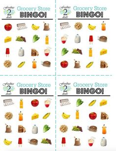 Free Grocery Store Bingo Game Cards