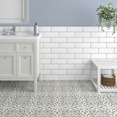 Devonstyle Grey Pattern Wall and Floor Tile Devon Style floor tiles make a wonderful feature of any hallway or bathroom. Use the Devon Style Black base tile as a border to create a focal point or deploy across the whole floor for a real statemen Unique Flooring, Grey Flooring, Kitchen Flooring, Kitchen Chairs, Dining Chairs, Bathroom Floor Tiles, Wall And Floor Tiles, Vintage Bathroom Tiles, Toilet Tiles