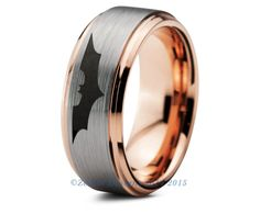Batman Tungsten Wedding Band Ring Mens Womens Beveled Edge Brushed 18K Rose Gold Fanatic Geek Anniversary Engagement Custom Sizes Available