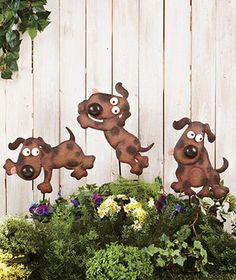 Playful dogs garden stakes - so cute!