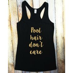 Pool Hair Don't Care Gold Glitter Tank ($17) ❤ liked on Polyvore featuring tops, grey, tanks, women's clothing, gold tank, gold top, grey top, grey tank top and gold glitter top