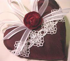Lavender Sachet Heart in Burgundy Taffeta by RebeccasHearts, $13.50