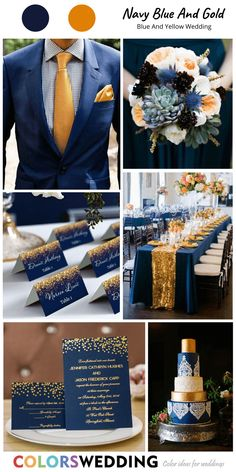 Top 8 Blue and Yellow Wedding Color Ideas Blue Yellow Weddings, Yellow Wedding Colors, Navy Blue And Gold Wedding, Wedding Navy, Cute Wedding Ideas, Wedding Themes, Wedding Decorations, Wedding Cakes, Fall Wedding