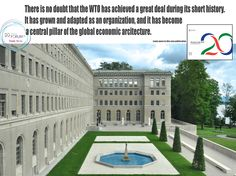 New title> 20 Years of the WTO: A Retrospective 20 Years of the WTO: A Retrospective provides an overview of the first two decades of the arbiter of the multilateral trading system. A selection of compelling images and quotes guides the reader through the history of the organization. #wto #wtoat20 Two Decades, World Trade, Great Deals, 20 Years, Public, Mansions, History, House Styles, Quotes