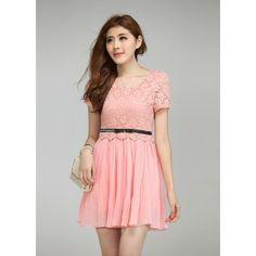 short sleeve lace chiffon dress-pink