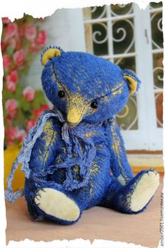 Купить Amadeus - синий, медведь, медведь тедди, тедди мишка, тедди медведи, тедди, мохер