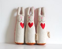 Bunny Toy Set of three bunnies by TheFoxintheAttic on Etsy, £69.00