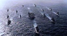 USS Eisenhower Cruise Book 1990 | DwightD.Eisenhower steams at the center ofher powerful battle group in ...