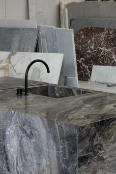 """""""Everything is sculpture. Any material, any idea without hindrance born into space, I consider sculpture"""" - ISAMU NOGUCHI - (Kitchen by Dieter Vander Velpen Architects & Il Granito. Photo by Thomas De Bruyne)"""