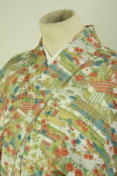 Komon kimono / 街着として 渋め多色の風景花柄 小紋#