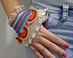 FreeForm Crochet ganchillo brazalete brazalete por SESIMTAKI