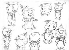 Model sheets for Hanna-Barbera's 1962 cartoon, The Jetsons: George, his boy Elroy, daughter Judy, Jane (his wife). Character Design Cartoon, Character Design Animation, Character Design References, Character Model Sheet, Character Modeling, Character Drawing, Cartoon Sketches, Cartoon Styles, Cartoon Art