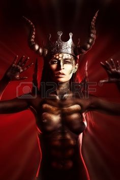 Beautiful and scary devil woman Stock Photo