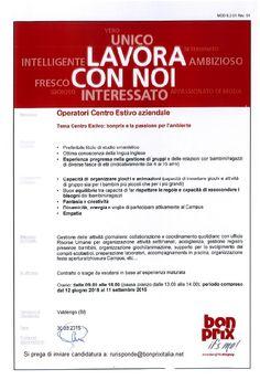 Ricerca animatori Campus estivo bonprix che si terrà presso la sede di Valdengo (BI) dal 12 Giugno 2015 al 11 Settembre 2015