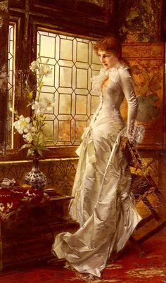 "Conrad Kiesel (1846-1921) At The Window Oil on canvas  93.4 x 57.2 cm (36.77"" x 22.52"")"