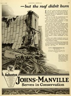 This is an original 1920 black and white print ad for the Johns-Manville Products offering Asbestos Roll Roofing, Colorblende Asbestos Shingles, Roofing, Corrugated Asbestos, and Johns-Manville Built-up Asbestos Roofing from H. W. Johns-Manville Company located in New York City.