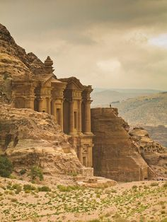 Glimpse of the monastery in Petra, Jordan