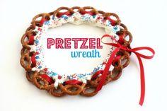 Pretzel Wreath July 4th edible craft @createdbydiane