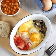 Full English breakfast baked eggs - a much healthier and easier version of a traditional British fry up!