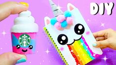 DIY unicorn school supplies for back to school! DIY video tutorial from Aira Tran! Como Fazer Post It, School Art Projects, Diy Projects, Crochet Kawaii, Diy Pinterest, Diy And Crafts, Crafts For Kids, Karten Diy, Diy Back To School