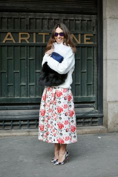 7 Ways To Wear A Full Skirt: floral full skirt