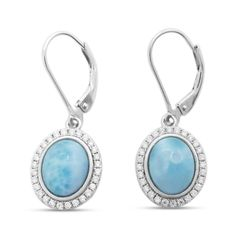 Light Blue Larimar Drop Sterling Silver Earrings with Halo