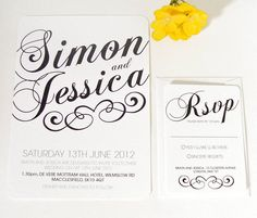 Black And White Vintage Wedding Invitation