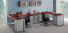 Simple Office Chair And Table with grey colorand wall cabinet