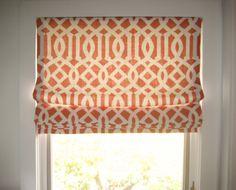 Orange geometric operable roman shade www.drapery-design.com