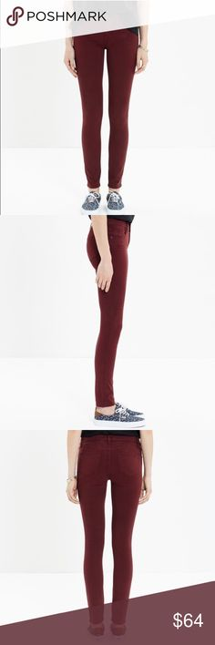 "Madewell skinny skinny sateen jeans Our leanest, sexiest fit fashioned in a stretchy, garment-dyed sateen. Supersoft and so, so comfortable (like, instead-of-yoga-pants comfortable).    Sit at hip. Fitted through hip and thigh, with a slim leg. Front rise: 8"". Inseam: 28 1/2"". 60% cotton/35% modal/5% elastane. Machine wash. Madewell Jeans Skinny"