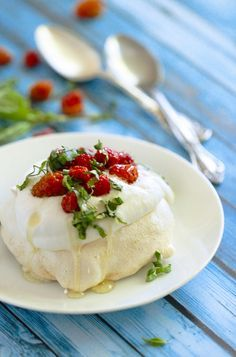 Mini Pavlovas with Salmonberries, Basil & Honey Whipped Cream