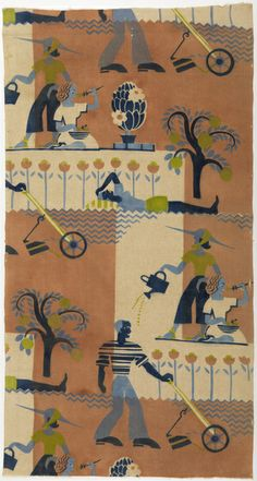¤ Printed textile from United States with a man mowing the lawn, a woman gardening, and a woman sunbathing, all stylized as in Egyptian or Cretan wall painting. Dated ca. 1939 made by Lanette Scheeline. Motifs Textiles, Vintage Textiles, Textile Prints, Textile Design, Textures Patterns, Fabric Patterns, Print Patterns, Surface Pattern, Surface Design