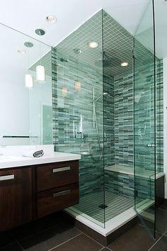 pencil tiles, glass shower