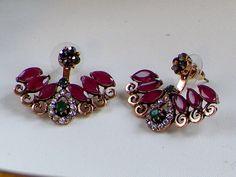 Earrings,Bohemian Ethnic Emerald Ruby earrings,Ear wrap,ear cuff,ear hoop climbers,Ear Jacket,Women Jewellery,Antique Gold Boho earrings