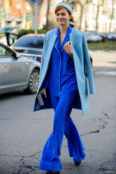 making cobalt blue pajama sets into daywear. #MFW #streetstyle #mizustyle