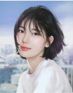 Bae Suzy, Shot Hair Styles, Curly Hair Styles, Korean Short Hair, Miss A Suzy, Digital Art Girl, My Hairstyle, Cute Korean, Korean Artist