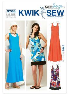 Sz XS/S/M/L/Xl - Kwik Sew Dress Pattern by Kerstin Martensson - Misses' Pullover Racerback Dresses in Two Variations Kwik Sew Patterns, Dress Sewing Patterns, Clothing Patterns, Paper Patterns, Summer Dress Patterns, Vogue, Miss Dress, Sewing Clothes, Swing Dress