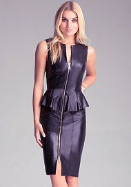 Leather Zip Peplum Dress available at bebe