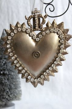 X-large ex voto/milagro heart ornament decorated with rhinestones and vintage jewelry by mysweetmaison on Etsy.