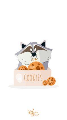 Meeko Eating Cookies by Marion Blanc Walt Disney, Disney Love, Disney Magic, Disney Art, Disney Pixar, Meeko Pocahontas, Film Anime, Pinturas Disney, Disney Background