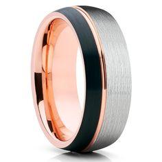 8mm,Rose Gold Tungsten Ring,Rose Gold Tungsten,Brushed,Tungsten Carbide Ring