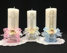Bautismo bautizo / primera comunión decoradas velas con Rosario