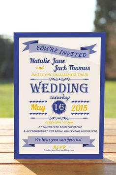 Navy Blue and Yellow Watercolor Wedding Invitations - Mospens ...